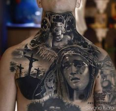 Black and grey chest tattoo art done by Italian tattoo artist Silvano Fiato Italian Tattoo Artist Trendy Tattoos, New Tattoos, Body Art Tattoos, Sleeve Tattoos, Tattoos For Guys, Chicano Tattoos, Word Tattoos, Christ Tattoo, Jesus Tattoo