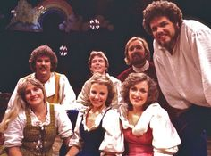 Way back to 1980 and our production of PILGRIM by Tom Key, directed by Rick Parker. In picture, back row: Gary McDonald, Lance Kidd, and Robert Smyth. Front row: Kerry Meads, Mary Kidd, Deborah Gilmour Smyth, and C. McNair Wilson (that's ME, far right, with my real hair.)
