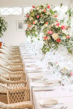 The Conservatory decked out in crisp whites, and splashes of greens, creams and pinks for the wedding of Ounooi and Jacques