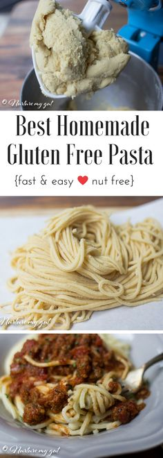 Homemade Gluten Free Pasta made with only 3 ingredients! A super fast and easy recipe that tastes be Easy Pasta Recipes, Gf Recipes, Dairy Free Recipes, Vegetarian Recipes, Diabetic Recipes, Seafood Recipes, Gluten Free Ravioli, Gluten Free Lasagna Noodles, Ravioli Recipe