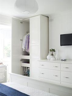 Bedroom TV and wardrobe setup