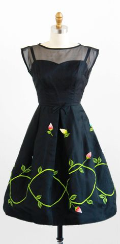 vintage 1960s cocktail dress with three-dimensional spring flower buds.