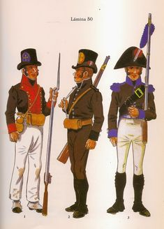 Spanish;Asturian Units; L to R Fusilier Regt.Luarca 1808, Volunteer Cazadores de Montana 1808 & Sergeant Regt.Llanes 1808