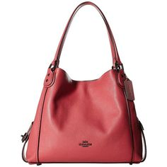 COACH Pebbled Leather Edie 31 Shoulder Bag (DK/Rouge) Handbags ($350) ❤ liked on Polyvore featuring bags, handbags, shoulder bags, man bag, coach handbags, coach purses, cell phone purse and shoulder strap handbags
