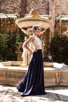 Vestido festa azul marinho, renda, allure. www.farthingale.com.br