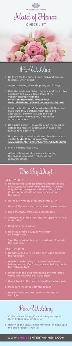 Brides Entertainment - Maid Of Honor Duties Checklist (Pre-Wedding, During Wedding and Post Wedding)