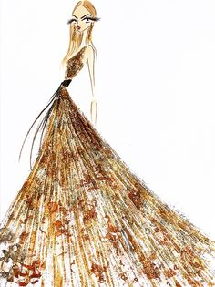 Oscar de la Renta - Gilded girl by The Illustrienne.