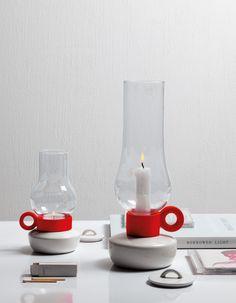 Bugia Porcelain & Glass Tealight Holder in White & Red design by Seletti