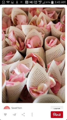Basket of Sheet music cones for flower petal to throw at bride and groom...flower girl passes out as guests leave the ceremony