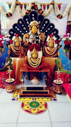 "Varalakshmi Vratham or Varalakshmi Vrat is the festival to appease Goddess Lakshmi, the consort of Lord Vishnu. Vara means that ""boon"" and Lakshmi means ""Goddess of Wealth"". Ganapati Decoration, Decoration For Ganpati, Kalash Decoration, Festival Decorations, Wedding Decorations, Puja Room, Goddess Lakshmi, God Pictures, Indian Festivals"