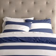 Stripe Duvet Cover + Shams - White/Navy | west elm - Thinking of doing navy and coral in my room.  Love the idea of the stripes with white eyelet sheets