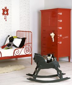 Chalk Paint® by Annie Sloan Emperor's Silk armoire cabinet, red Ikea Minnen bed. the boo and the boy: girls' rooms