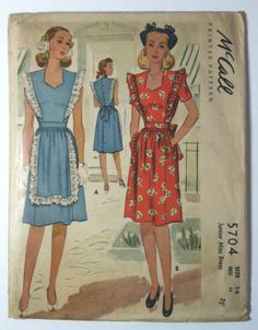 1940s Vtg Collectible Sewing Pattern Mccall 5704 Jr Miss Ruffle Pinafore Dress