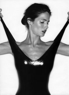 "Stephanie Seymour for Vogue UK April 1995 in ""Rubber Stamp""."