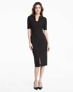 """Every woman needs a go-to LBD (or three) in her closet. This simple yet supremely chic sheath dress gets our vote this season. Fully lined v-neck style has flattering seam detail, front center slit and back zip.  Sheath dress in black with elbow sleeves Shell: rayon/nylon/spandex; Lining: polyester/spandex Machine wash cold; may be dry cleaned. Approx. 44"""" from shoulder; 6"""" below the top of the knee Imported"""