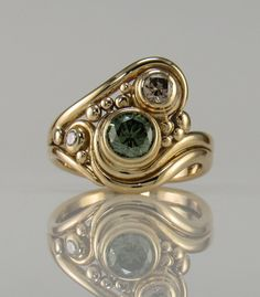 18ky Gold Green and Champagne Diamond Ring by DenimAndDiaJewelry