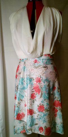 Knee-length Floral Wrap Skirt