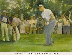Walt Spitzmiller - Arnold Palmer in 1958 Golf Art, Arnold Palmer, Caricatures, Portraits, Painting, Head Shots, Painting Art, Paintings, Portrait Photography