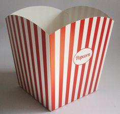standaard bedrukt popcorn bakje in rood en wit