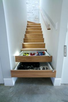 "Brilliant Idea : no idea how to ""DIY"" but genius : storage solutions : every house needs this : stairs : staircase : smart"