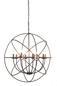 The Derince Iron Orb Chandelier is simply sophisticated. Like planets in orbit, the rustic iron rings add motion and drama to a room. The Derince Iron Orb Chandelier would gracefully anchor a round dining table, or create a stunning focal point in an entry. The chandelier is suspended by heavy adjustable chain and a coordinating …