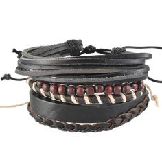 Braided Adjustable Leather Bracelet Cuff  for men and women - Just 9.95$