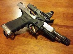 Glock 34 Gen 4 9mm Open Class Race Gun I built. Only original part left is the frame.