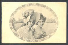 NZ060 VIENNE BKWI 449-2 COUPLE of LADIES Large HAT in FRAME 1908
