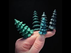 A quick peek at how I like to create polymer clay evergreen trees for use in my poly clay projects! Polymer Clay Halloween, Polymer Clay Ornaments, Sculpey Clay, Cute Polymer Clay, Polymer Clay Canes, Polymer Clay Flowers, Polymer Clay Necklace, Polymer Clay Pendant, Polymer Clay Projects