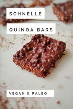 Schnelle & einfache Quinoa Bars - and easy food recipes snacks Schnelle & einfache Quinoa Bars Quinoa Vegan, Quinoa Bars, Quinoa Recipe, Recipe Recipe, Vegan Bar, Bolo Vegan, Cake Vegan, Dessert Simple, Keto Recipes