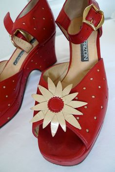 Vintage MAUD FRIZON red leather daisy and dot wedge sandals