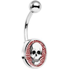 Stainless Steel White and Red Stripe Logo Grinning Skull Belly Ring | Body Candy Body Jewelry