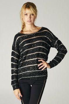 Ellison Black & Silver Sparkle Sweater - LaMaLu Boutique | Women's Online Clothing Boutique