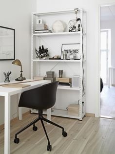 Mini Gold Desk Lamp With Portable Black Armchair Also Scandinavian White Home Office Shelving Unit Beside Doorway