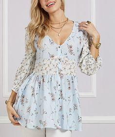 ac31c670ea9bb Suzanne Betro | White & Blue Floral Smock Waist Button-Up Tunic - Women &  Plus