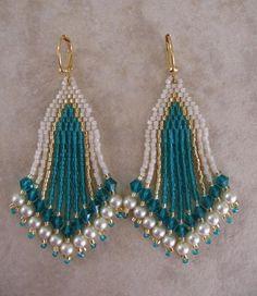 Seed Bead Earrings  Beadwork  Zircon/Teal