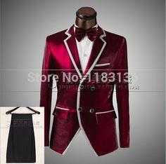 Aliexpress.com: Comprar 2015 hombres traje del traje para hombre vestido formal del novio ropa traje chaqueta de color rojo para bailarín del cantante estrellas maestro de ceremonias de la barra de rendimiento de Blazers confiables proveedores de Top Hot Fashion TRADING CO.,LTD.