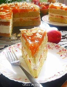 » Tort cu caise si crema de mascarponeCulorile din Farfurie Vanilla Cake, French Toast, Cheesecake, Breakfast, Desserts, Food, Cakes, Pies, Mascarpone