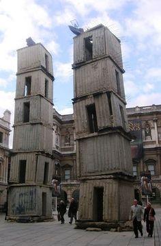 Anselm Keifer instalacion cubos casas chapa villa torre apoyar