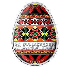 1 oz. Fine Silver Coloured Coin - Traditional Ukrainian Pysanka - Mintage: 4,000 (2016)