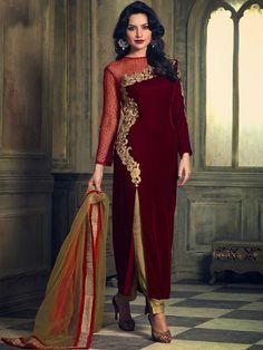 Maroon with Golden Color Velvet Embroidered Straight Salwar Kameez