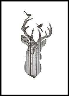 Graphic Deer silhouette, poster i gruppen Posters hos Desenio AB (8350)