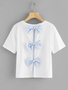 Shop Contrast Bow Split Back Tee online. SheIn offers Contrast Bow Split Back Tee & more to fit your fashionable needs. Sexy Dresses, Dress Outfits, Cute Outfits, Summer Dresses, Ladies Dresses, Dress Clothes, Party Dresses, Dress Party, Evening Dresses