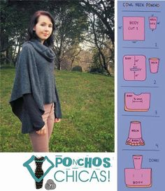 Pictorial guides for several ponchos. NOT IN ENGLISH & NOT TRANSLATABLE but may be able to figure out a couple of these.