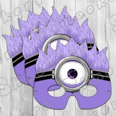 Despicable Me 2 - Inspired Printable Purple Minion Party Mask (Instant Download) on Etsy, $4.00