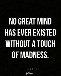 """""""No great mind has ever existed without a touch of madness."""" —Aristotle"""