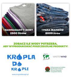 Zobacz ile wody potrzeba do wyprodukowania jednego t-shirtu i jednej pary jeansów!
