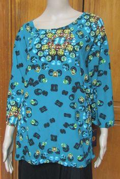 Adrienne Vittadini Jewel Print Teal Tunic 3/4 Sleeve Blouse NWT Sz XL MSRP$89.50…