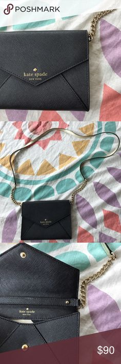 NEW Kate Spade Gallery Drive Monday Black Elegant. Can fit phone, ID cards, lipstick. Perfect condition. kate spade Bags Clutches & Wristlets
