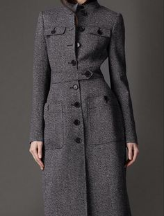 Winter Women Wool Cashmere Stand Collar Parka Coat Trench Slim Outwear Jacket